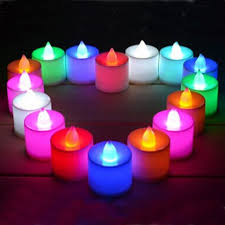 set of 12 or 24 battery operated led multi color flickering