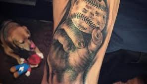 realistic men hand and 3d baseball tattoo on ripped chest