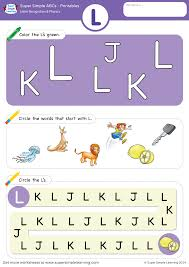 letter recognition u0026 phonics worksheet u2013 l uppercase super simple