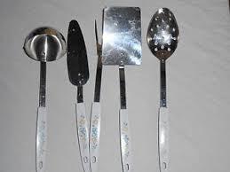 Kitchen Utensils Design by Vintage Stainless Steel Plastic Handle Kitchen Utensils W Fruit