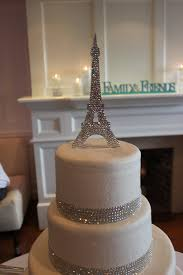eiffel tower custom cake topper fully covered with clear crystals