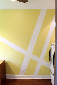 geometric wall mural laundry room makeover geometric wall