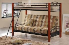 coaster haskell black metal and cherry wood twin over futon bunk bed