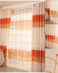 Orange And White Curtains Unique Orange Color Room Darkening Window Curtain Ideas