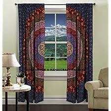 Dorm Room Window Curtains Amazon Com Indian Mandala Print Kitchen Window Curtains Curtain