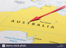 australia continent and country on the world map stock photo