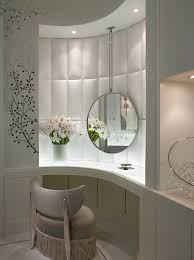 White Bedroom Vanity Table With Tilt Mirror Cushioned Bench Curves Proving Their Worth Clever Fitted Dressing Table With