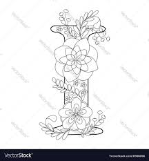 letter i coloring book for adults royalty free vector image