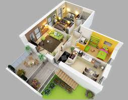Simple 2 Bedroom House Plans by 25 More 3 Bedroom 3d Floor Plans 3d Bedrooms And House
