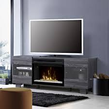 max electric fireplace tv stand in carbonized walnut