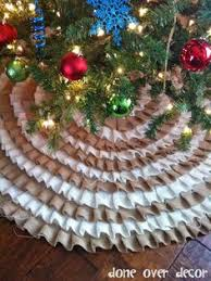 fabric ruffles glued to cheap tree skirt for my