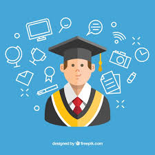 graduation items blue background with student and graduation items vector free
