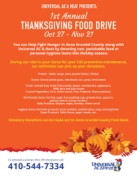 universal s 1st annual thanksgiving food drive universal ac and heat