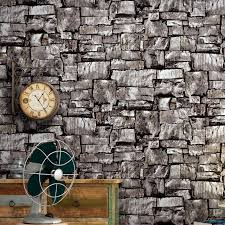vintage 3d effect imitation stone brick wall wallpaper for living