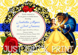 beauty and the beast bridal shower or birthday invitation