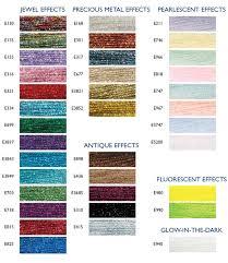 list of color dmc light effects list of colors color threads dmc threads