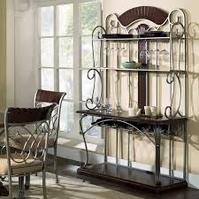 Bakers Rack With Wheels Cool Kitchen Bakers Racks Come With Rectangle Shape Brown Wooden