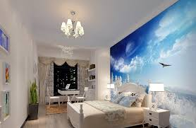 3d Wallpaper Interior Bedroom Interior Night Rendering With Blue Wallpaper Download 3d