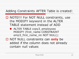 alter table not null database programming sections 9 constraints marge hohly2