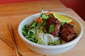 rice noodle salad bún with vietnamese turkey meatballs savory