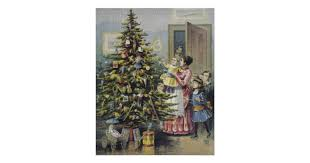 vintage christmas victorian family around tree poster zazzle com