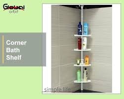 Telescopic Bathroom Shelves Bathroom Shower Racks White 4 Tier Adjustable Cm Telescopic Corner