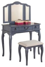 Vanity And Stool Set Poundexfurniture F409 Bobkona Susana Tri Fold Mirror Vanity Table