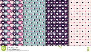set of 4 elegant seamless patterns with hearts design elements