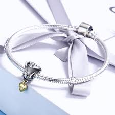 silver rose bracelet jewelry images Authentic 925 sterling silver rose flower with you in heart dangle jpg
