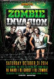 zombie invasion halloween party flyer awesomeflyer awesomeflyer
