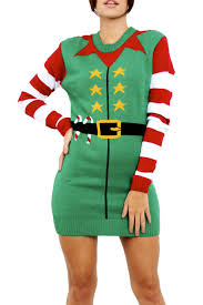 womens knitted christmas ladies elf costume belted xmas oversized