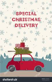 christmas delivery vector illustration small red stock vector