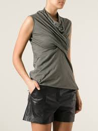 Draped Neckline Tops Rick Owens Lilies Draped Top In Green Lyst