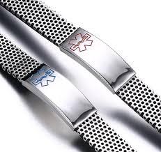mesh steel bracelet images Custom engraved medic alert id bracelet personalized men 39 s jpg
