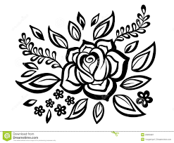 Black And White Design Black And White Flowers And Leaves Floral Design Element In Retro