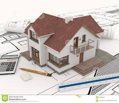 3d building with blueprint plans stock image image 34908351