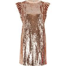 rose gold tone sequin frill oversized t shirt t shirt dresses
