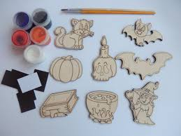 8 pieces halloween set for coloring wooden decorations easy