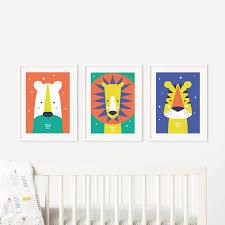 animal bright modern baby nursery wall art trio by paper joy animal bright modern baby nursery wall art trio