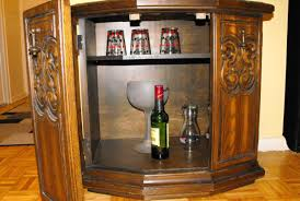 Glass Door Bar Cabinet Bar Furniture Square Brown Wooden Bar Cabinet With Drawer And