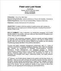 Free Sample Resume Template by Federal Resume Template 10 Free Word Excel Pdf Format Download