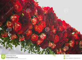 beautiful floral decoration for outside wedding ceremony stock