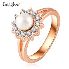 aliexpress buy beagloer new arrival ring gold beagloer trendy design imitation pearl rings gold color