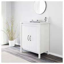 Ikea Bathroom Cabinet Doors Brusali Cabinet With Doors White Ikea