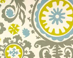 Yellow And Grey Home Decor Gray Suzani Fabric Turquoise Blue Mustard Yellow Fabric Home