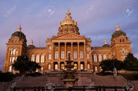 Iowa State Capitol by State Capitol In Sunset Light In Des Moines Iowa Stock Photo