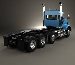 kenworth t800 chassis truck 4 axle 2005 3d model rkaa pinterest