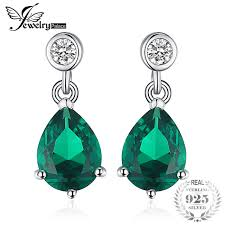 emerald drop earrings jewelrypalace exquisite 6ct pear green nano russian simulated