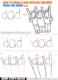 how to draw a cartoon dad and children from the word dad easy