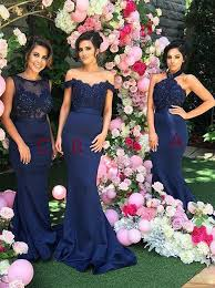 navy blue bridesmaids dresses buy mermaid halter open back navy blue bridesmaid dress with lace